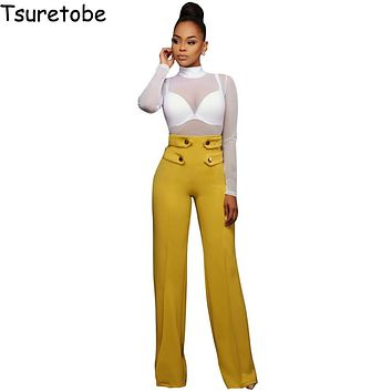 Tsuretobe New Fashion Stretch Wide Leg Pants Women Elastic Button Palazzo Long Casual Pants Female Bottom High Waist Trousers