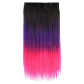 Five Clips Long Straight Hair Extension Wig   1BTPURPLETHOTPINK