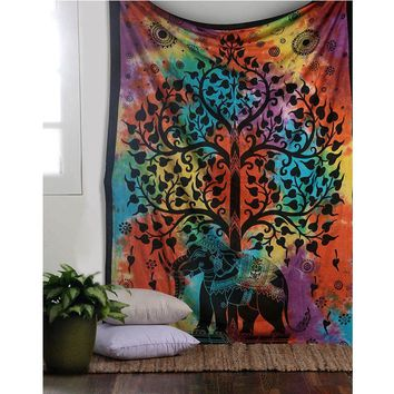 Indian Elephant Hanging Tapestry Mandala Wall Tapestries Living Room Decor Table Cloth Bedspread Blanket Bohemian Hippie Towel