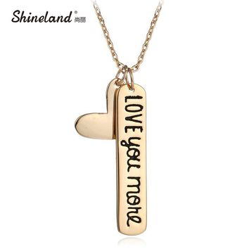Shineland Retro Fashion Jewelry Love Heart Carving Alphabet Letters Love You More Necklace Pendants Valentine's Day Charm Gifts