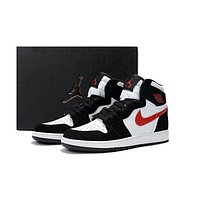 Nike Air Jordan Retro 1 OG High GS Black White Red Women Sneakers