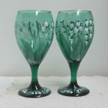 Wine Glasses, Green Glass, Vintage Stemware, Hand Painted, Lily of the Valley, Garden Design, Folk Art Style, Drinking Glasses, Table Decor.
