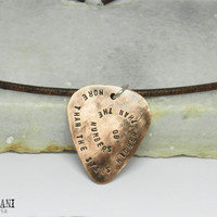Personalized oxidized copper guitar pick necklace. Mens custom leather necklace.Hand stamped. Silver ring.Sterling Silver clasp.
