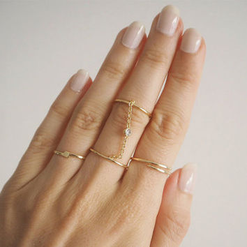 Double Chain Ring - Slave ring - Gold chain ring - Midi Ring