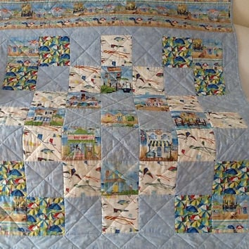 Beach Quilt, Seaside Village, Cottage Quilt,Throw, Large Lap Quilt, Handmade Quilt 55 x 66 inches Free Shipping Canada & USA
