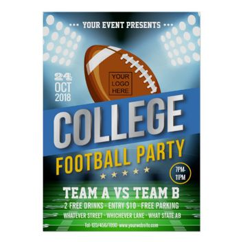 College Football Party change color and add logo Poster