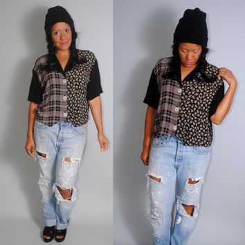 Vintag 1990s black and white PLAID and FLORAL button down Crop top short sleeve GRUNGE shirt blouse