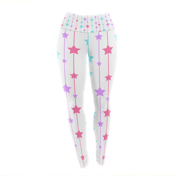 "NL Designs ""Pastel Stars"" Pastel Pattern Yoga Leggings"
