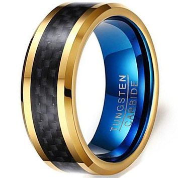 8mm Tungsten Carbide Black Carbon Fibre Inlay 18k Gold Blue Vintage Wedding Band Engagement Ring
