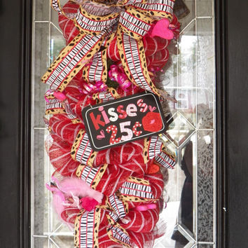 Valentine's Day  Door Swag, Valentine's Day Wreath, Front Door Wreath, Deco Mesh Wreath