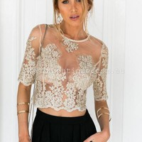 Jasmine Stardust Embroidered 2.0 Top (Gold) | Xenia Boutique | Women's fashion for Less - Fast Shipping
