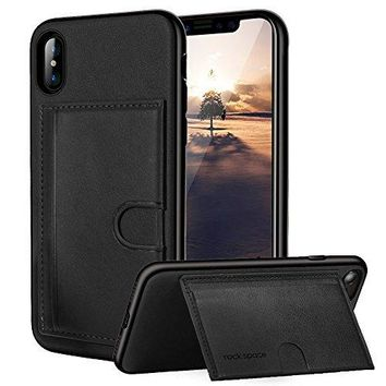 iPhone X Case, ROCK [Cana] Ultra Thin Anti-scratch PU Leather Cover w/Credit Card Slot ID Holder Kickstand Protective Shell Drop Protection Case For Apple iPhone X