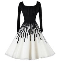 Vintage 1950's Black and White Ribbon Work Cocktail Dress