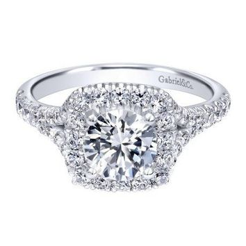 14K White Gold 1.27cttw Round Diamond Engagement Ring with Cushion Shaped Halo and Split Shank