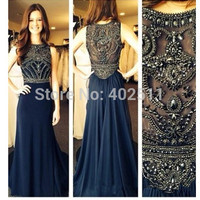 Sexy Long Prom Dresses Beading Sleeveless Chiffon Necjline Crew Zipper Sash A line Floor length Bridal Dresses-in Prom Dresses from Apparel & Accessories on Aliexpress.com | Alibaba Group