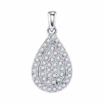 10kt White Gold Women's Round Diamond Framed Teardrop Cluster Pendant 1-4 Cttw - FREE Shipping (US/CAN)
