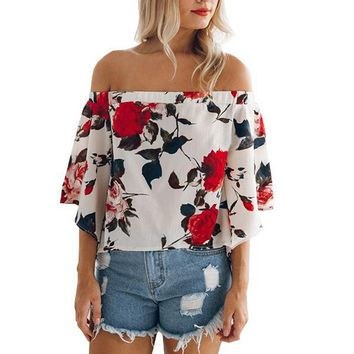 Women's Casual Floral Off the Shoulder Bell Sleeve Chiffon Blouse Shirt Tops