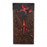 HOOey Black, Brown, and Red Tooled Rodeo Wallet