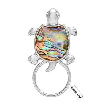 MANZHEN Gold Sea Turtle Natural Abalone Shell Magnet Clip Magnetic Eyeglass Holder Brooch Jewelry