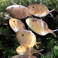 Large Upcycled 1800's Antique Silver spoon-fish- windchime -