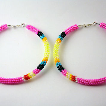 Hot Pink Native American Beaded Hoop Earrings