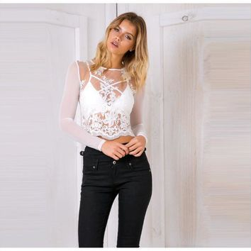 Autumn new women sexy bud mesh yarn long-sleeved shirt embroidered shirt female perspective