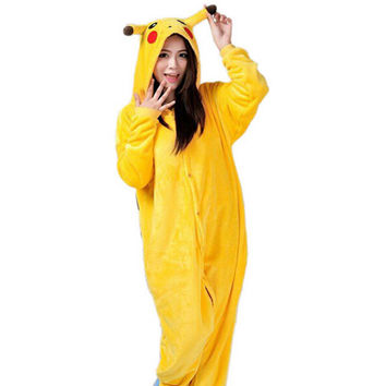 Hot Anime Cosplay Pokemon Pikachu Sleepwear Regino Knitting Adult Footed Girls Pajamas 2015 Carnival Halloween Costume for Women