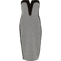 River Island Womens Black textured bandeau dress