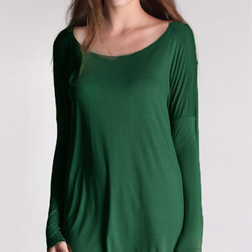 "PIKO ""Everything"" Long Sleeve Tunic - Green"