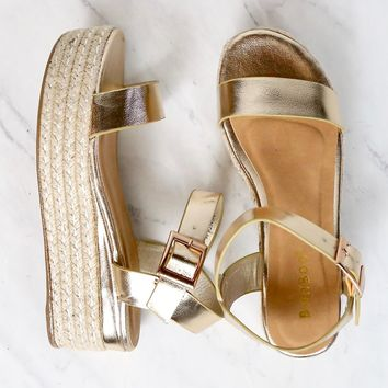 Metallic Gold Single Band Espadrilles Platform Sandal with Ankle Strap
