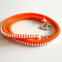 Beadedcrochet necklace, striped bead crochet necklace, orange-white colored