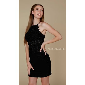 Short Cocktail Homecoming Dress Black Criss-Cross Back