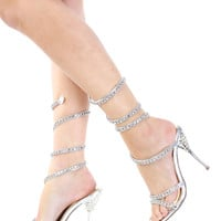 Silver Metallic Rhinestone Coil Wrap Sandal Heel / Sexy Clubwear | Party Dresses | Sexy Shoes | Womens Shoes and Clothing | AMI CLubwear