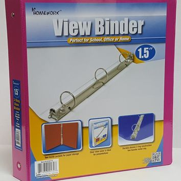 """1.5"""" Clear View Pocket Binder - Fuchsia - CASE OF 12"""