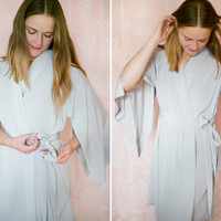 "One custom poetic ""Haiku"" sleeve robe. Long faux silk robe. Womens kimono silk robe Long bridal robe with pockets"