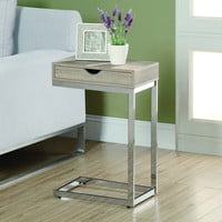 Natural Reclaimed-Look / Chrome Metal Accent Table