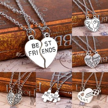 Bespmosp 2PCS Best Friends Forever BFF Puzzle Key Lock Heart Necklace Pendant Friendship Strip Pattern Statement Jewelry Choker