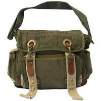laptop army green leather & canvas messenger bag this dark