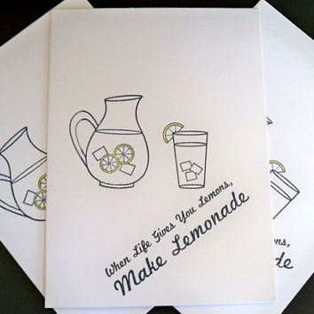 Lemonade Note Cards, Set of 5 Blank Note Cards, Hand Stamped, Handmade, Greeting Cards