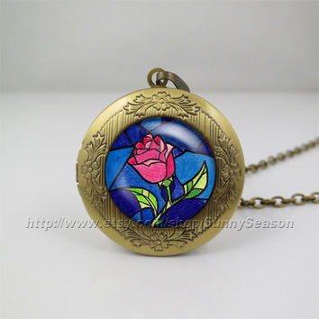 Beauty and the Beast Necklace, Flowers Rose pendant Locket Necklace, Glass Locket necklace