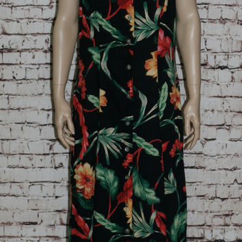 90s Maxi Dress 14 16  Floral Black Tropical Floral Grunge Pastel Goth Cyber Hipster Midi XL XXL Plus Size Rayon Express
