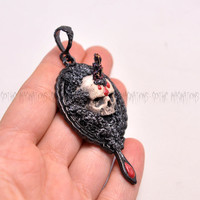 Realistic Hand Sculpted Skull Series Pendant, Bloody Paint Effect, Black Copper Background, Painted Clay, Goth, Necklace