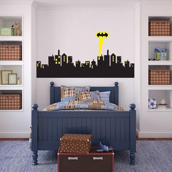 Batman Dark Knight gift Christmas Removable Wall sticker GOTHAM CITY SKYLINE Batman Decal Removable WALL STICKER Home Decor Art AT_71_6