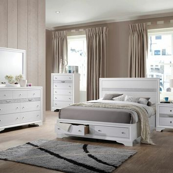 Acme 25770Q 5 pc naima collection white finish wood queen platform bed set with storage drawers
