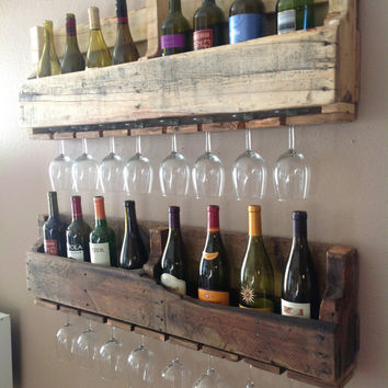 Reclaimed wood wine rack (set of 2)