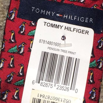 Sale!! Vintage TOMMY HILFIGER Penguin tree print silk tie men's necktie
