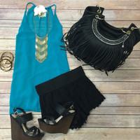 Sheer Long Flowy Top: Jade