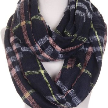 Navy Pink Yellow Plaid Infinity Scarf