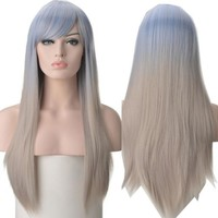 Silky Straight Wig Long Hair Womens Blue Blonde Ombre LOLITA Cosplay Party Hair