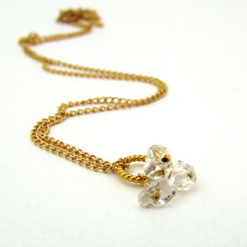 Herkimer diamond necklace, delicate jewelry, April birthstone necklace, herkimer diamond jewelry, crystal pendant, dainty cluster necklace